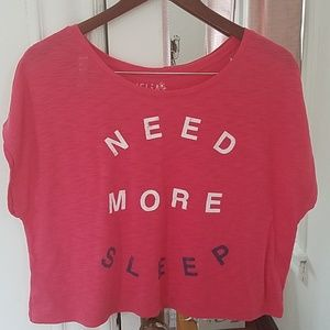 dELiA*s two work out crop tops hot pink & off whit